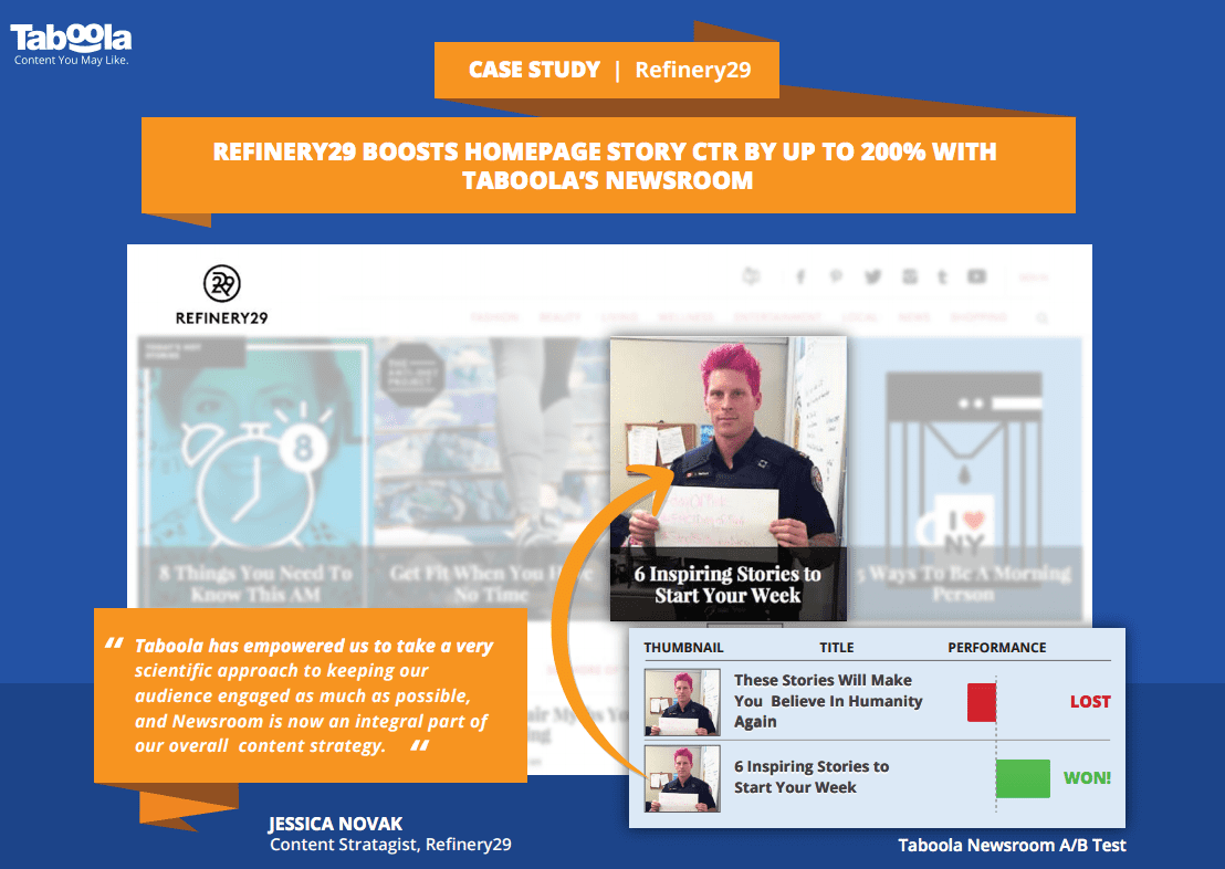 Taboola Case Study: Refinery29 Boosts Homepage Engagement With Taboola Newsroom
