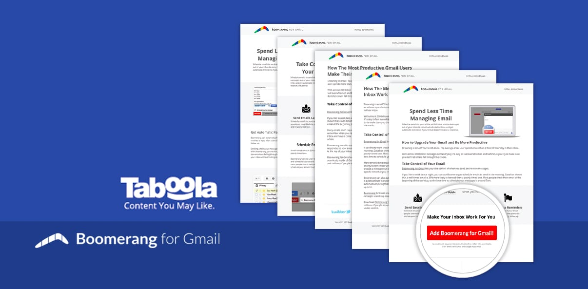 Case Study: Boomerang for Gmail Tests for the Perfect Landing Page With Taboola
