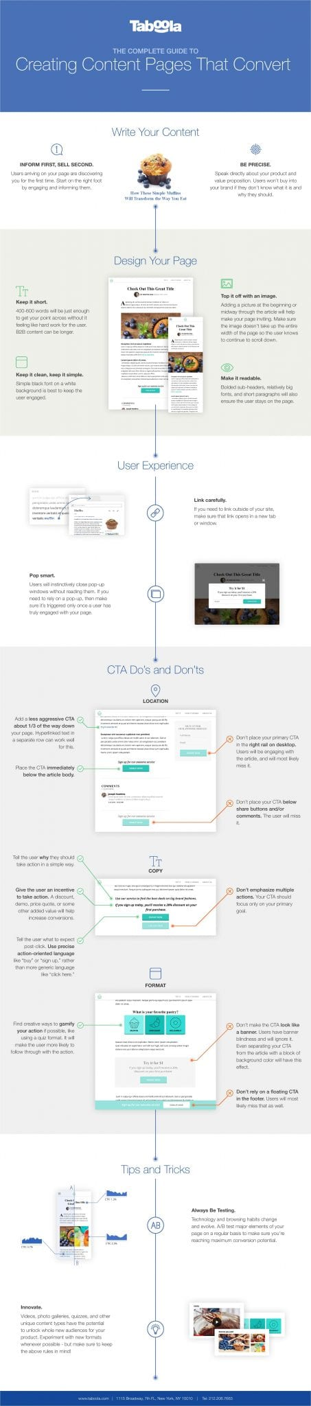 taboola landing page best practices