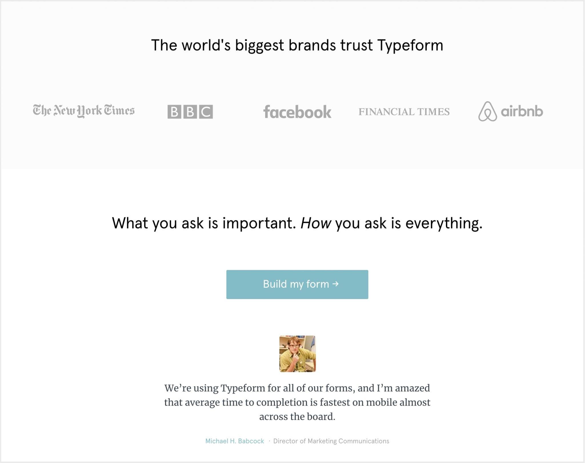 Typeform's landing page