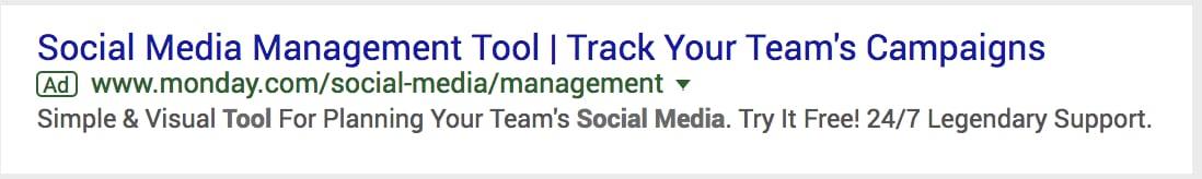 Google ads result