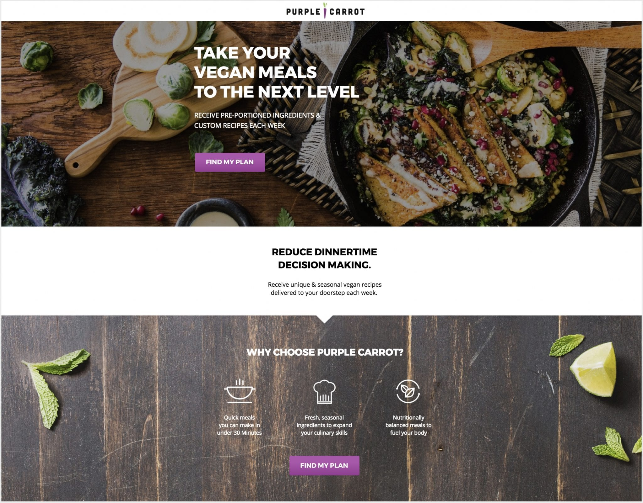Purple Carrot's landing page