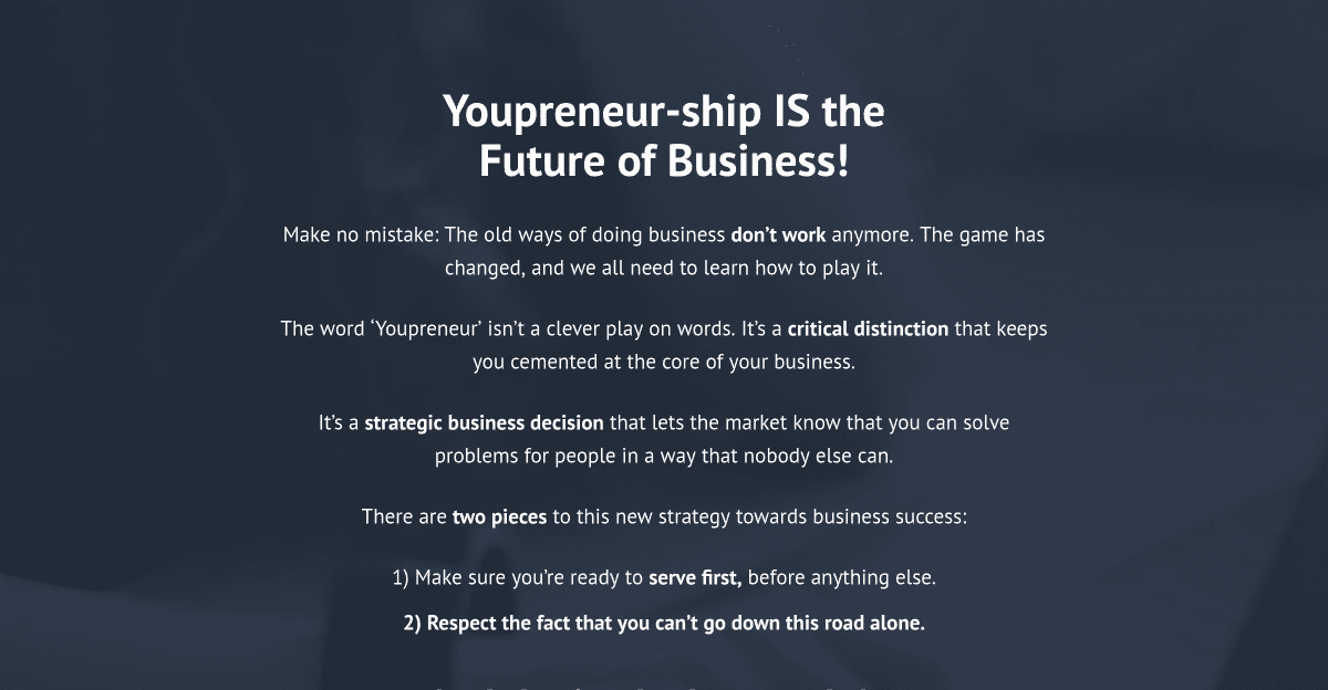 Youpreneur has a clear message for the visitor