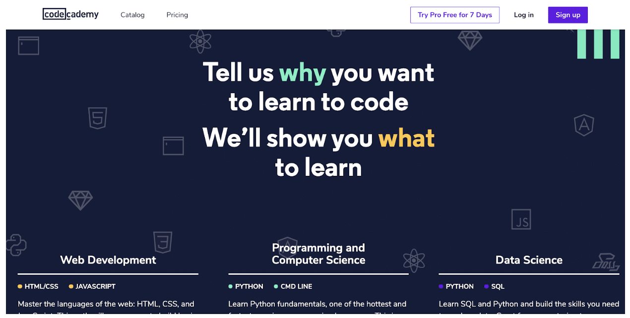 personalization in CodeAcademy