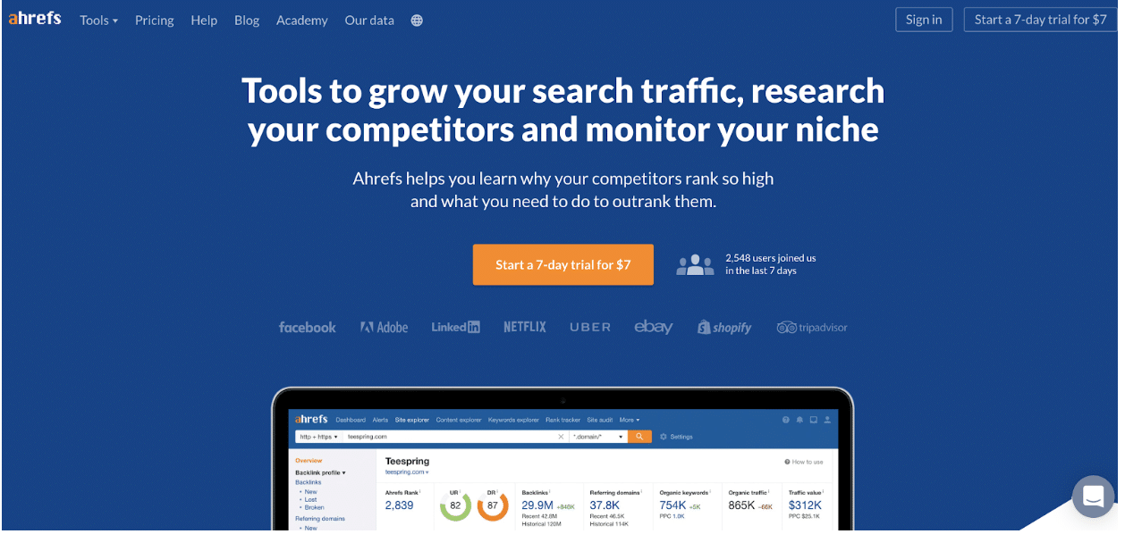 Ahrefs's Front Page