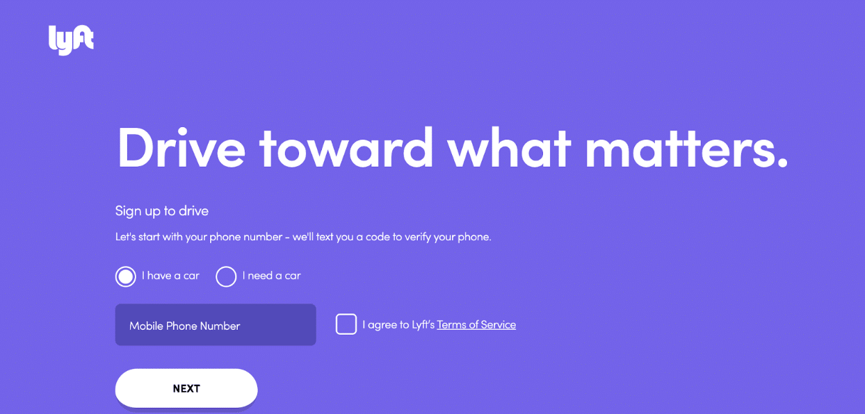 Lyft's sign up page