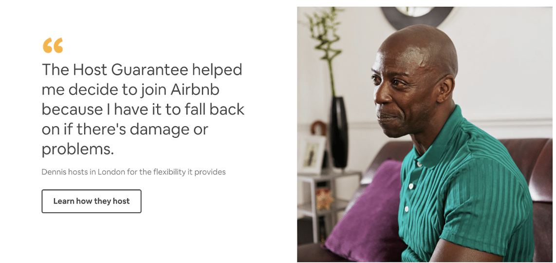 Social Proof Airbnb's page