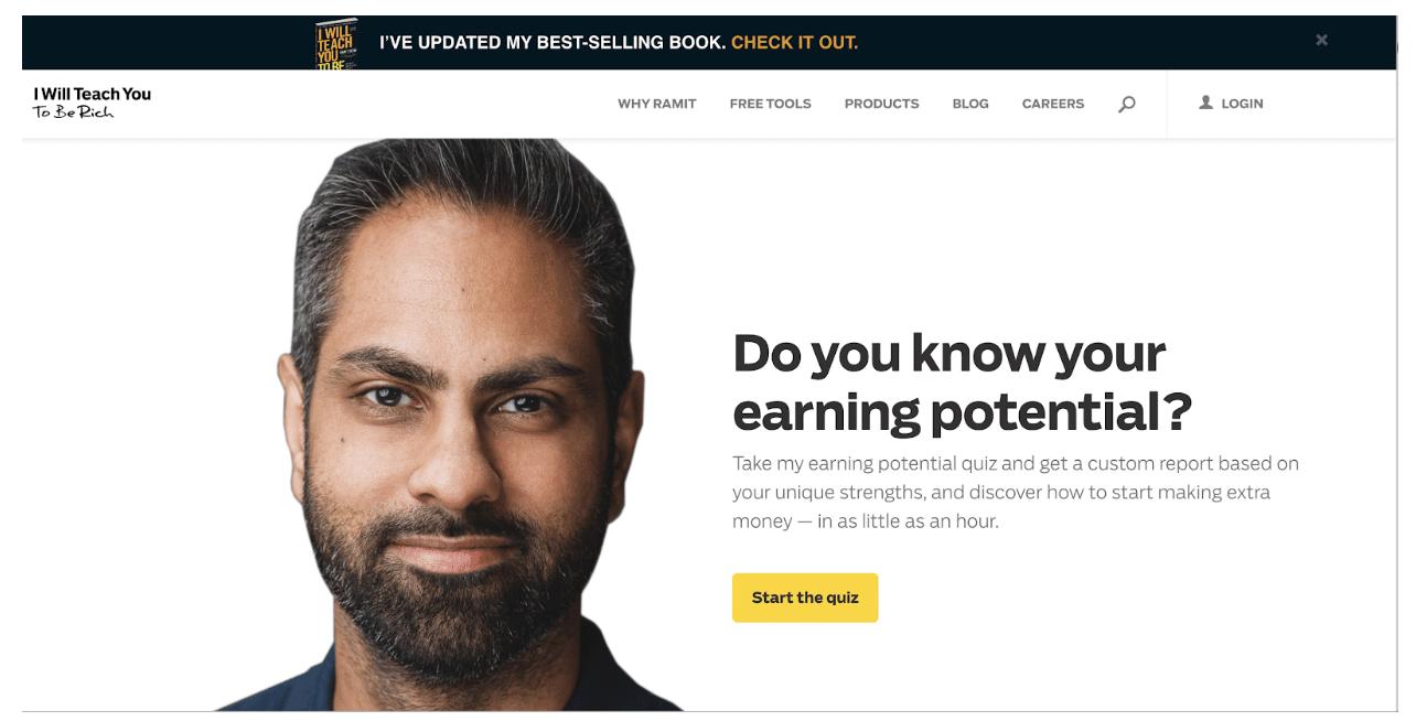Ramit Sethi's course landing page