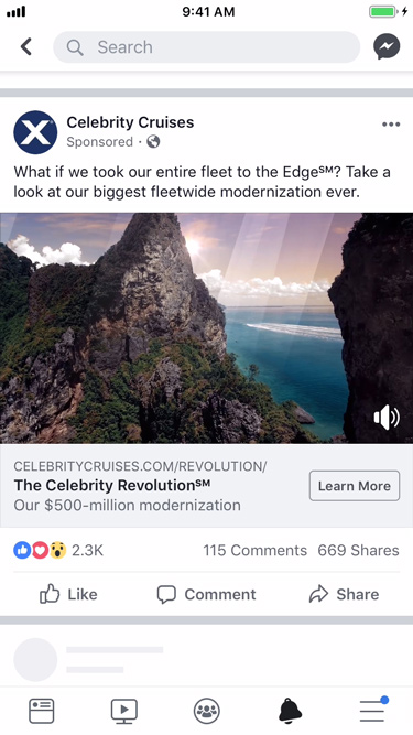 Celebrity Cruises retargeting ads on facebook