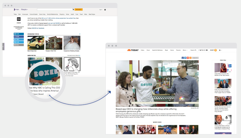 Boxed promote Today Show TV clip through native advertising