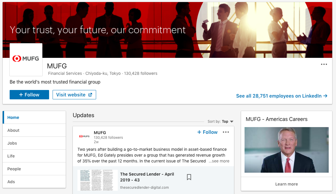 Mitsubishi UFJ Financial Group's LinkedIn page