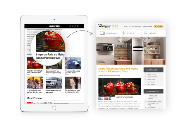 Whirlpool spread brand awareness With Taboola's discovery platform