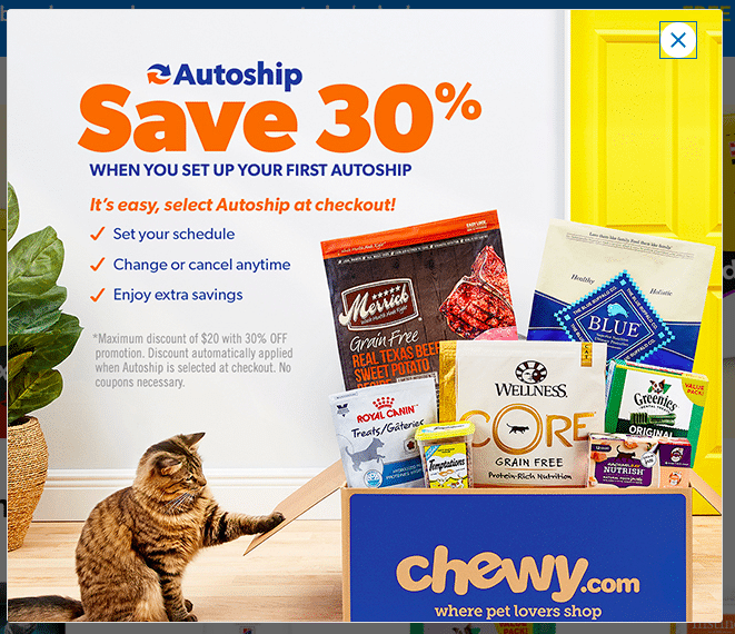 Ads on Chewy.com website
