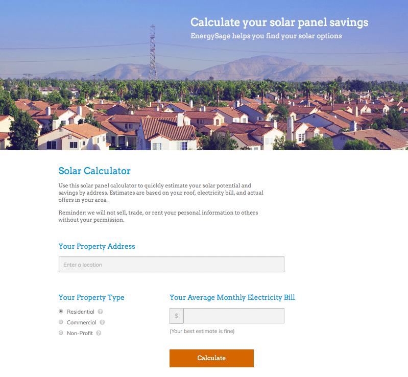 EnergySage offers solar calculator