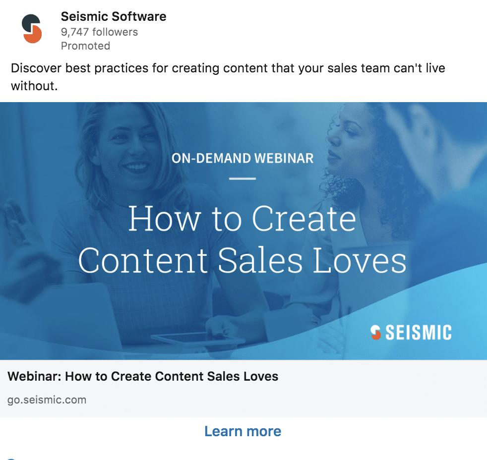 Seismic's LinkedIn ads