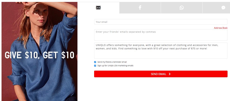 Ads on Uniqlo.com website