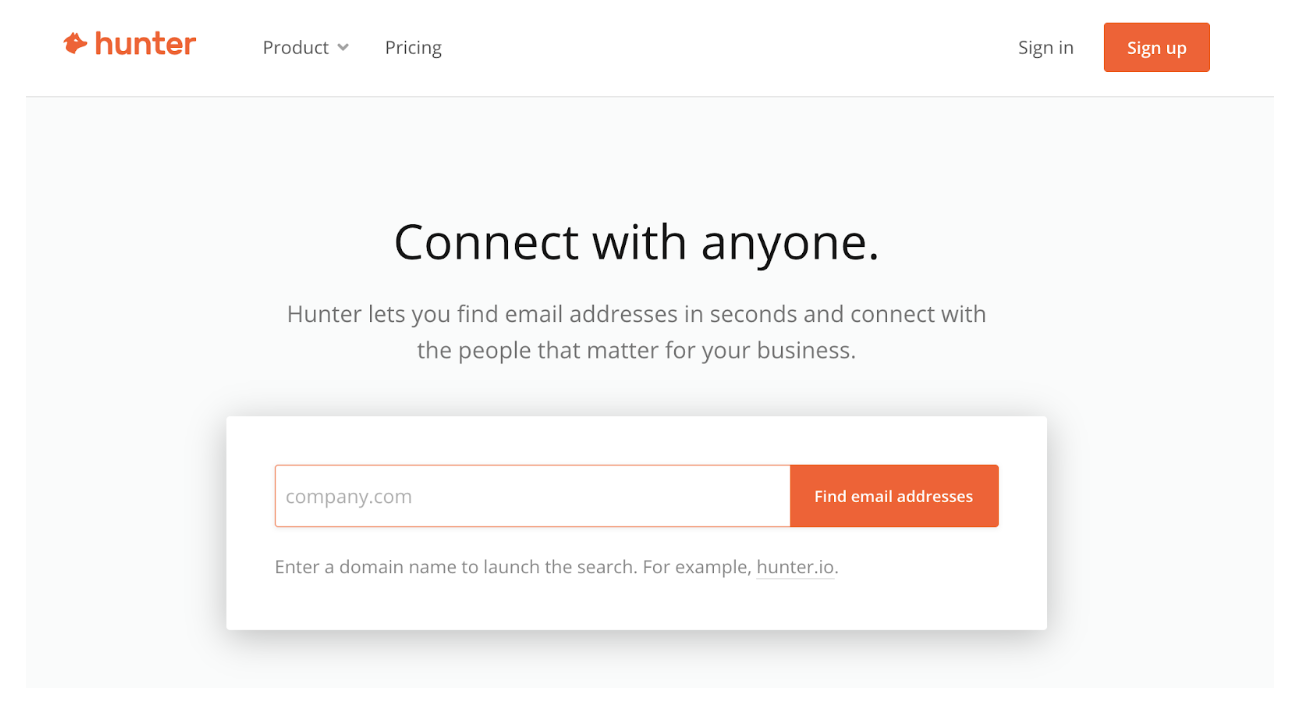 Hunter - find and verify professional email addresses