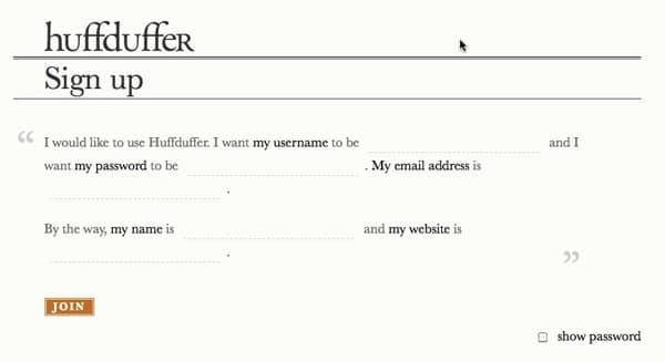 huffduffer signup form