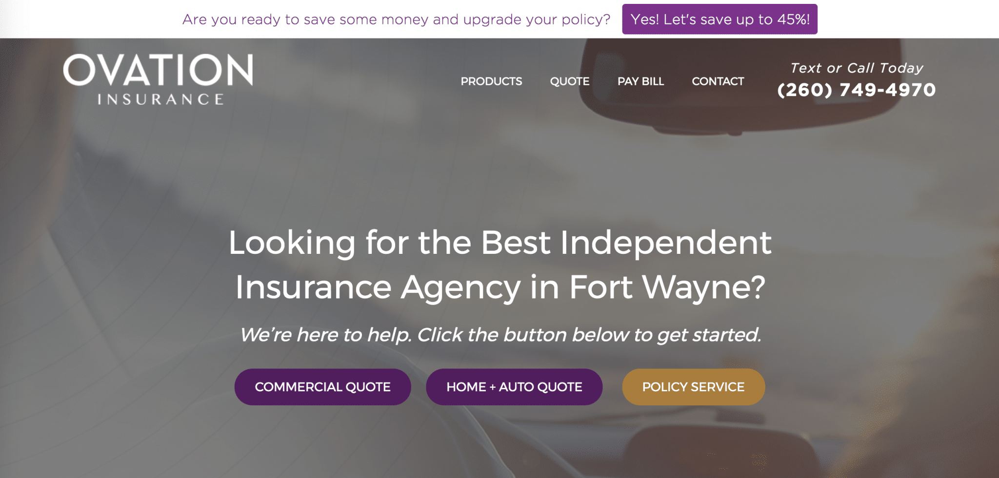 Ovation Insurance website