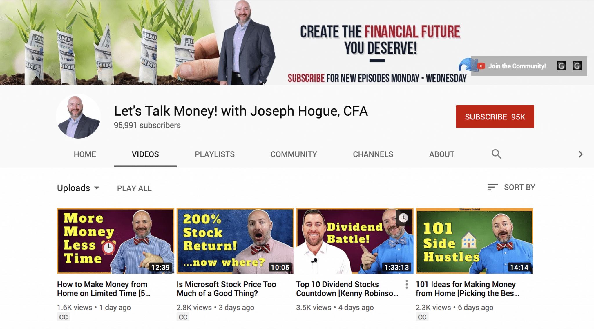 CFA Joseph Hogue's YouTube channel