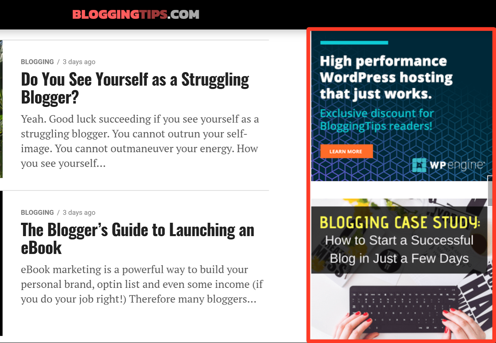 Sidebar display ads example