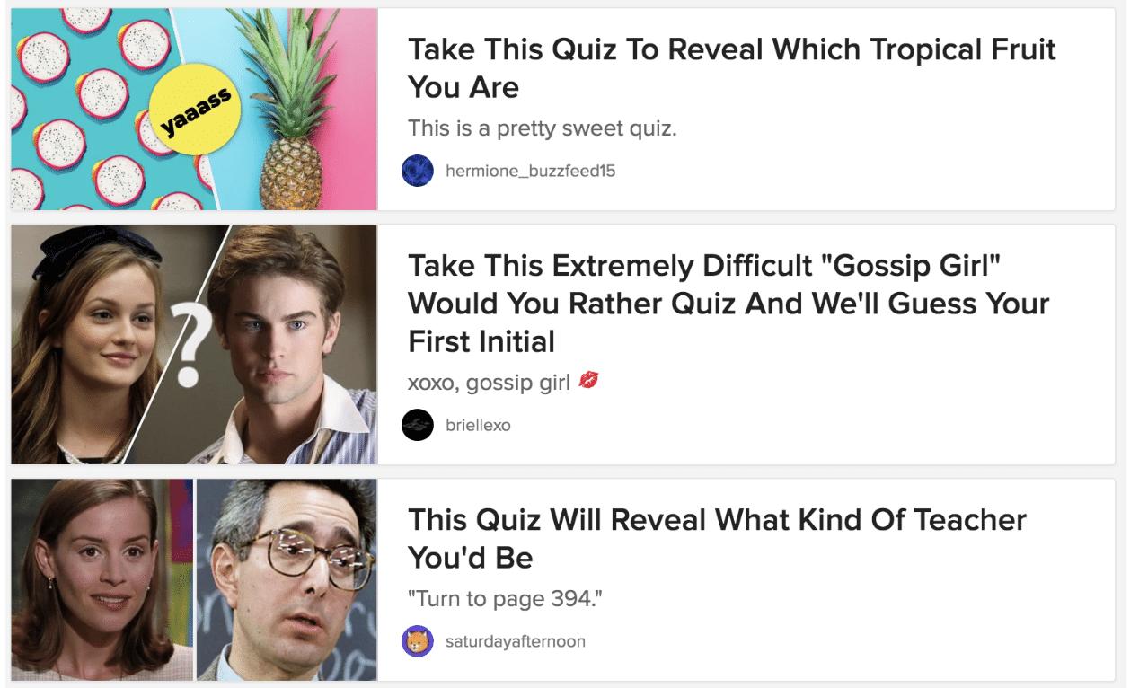 BuzzFeed interactive quiz