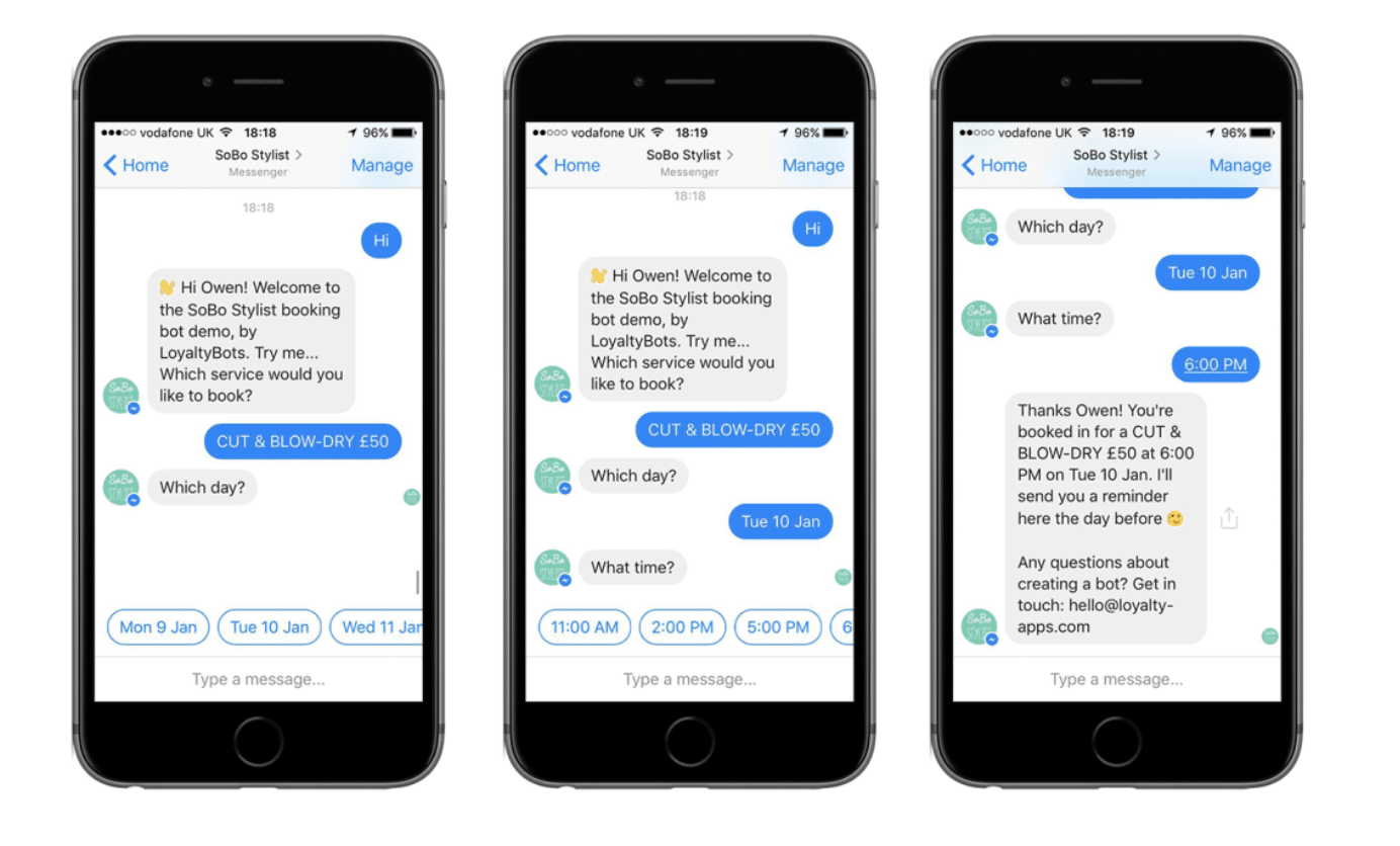 chatbot to book appointments