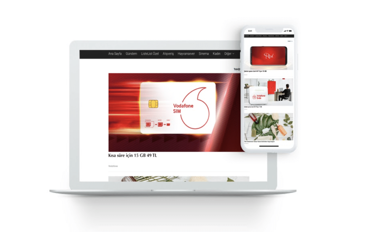 Vodafone native advertising example