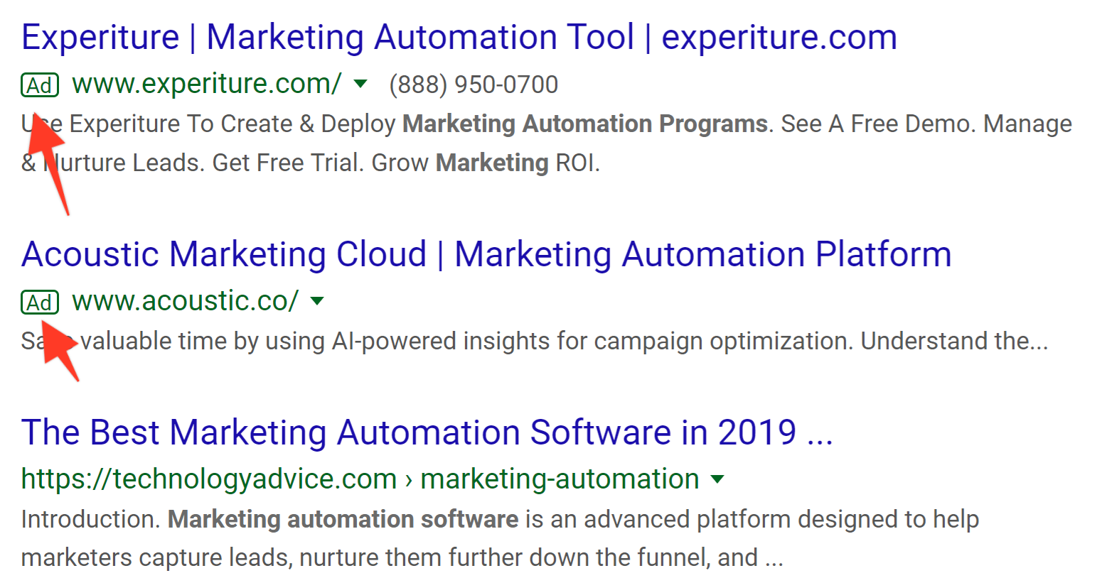 Native ads in search results