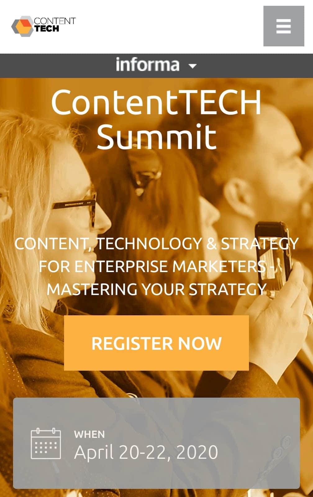 contenttech mobile landing page