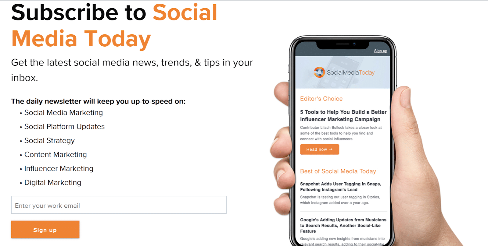 landing page lead gen from Social Media Today