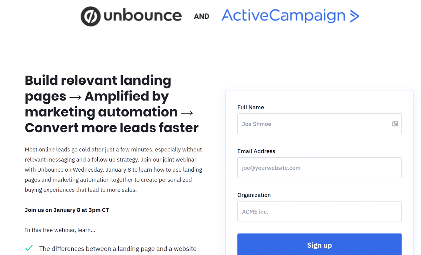 Lead gen landing page from Unbounce
