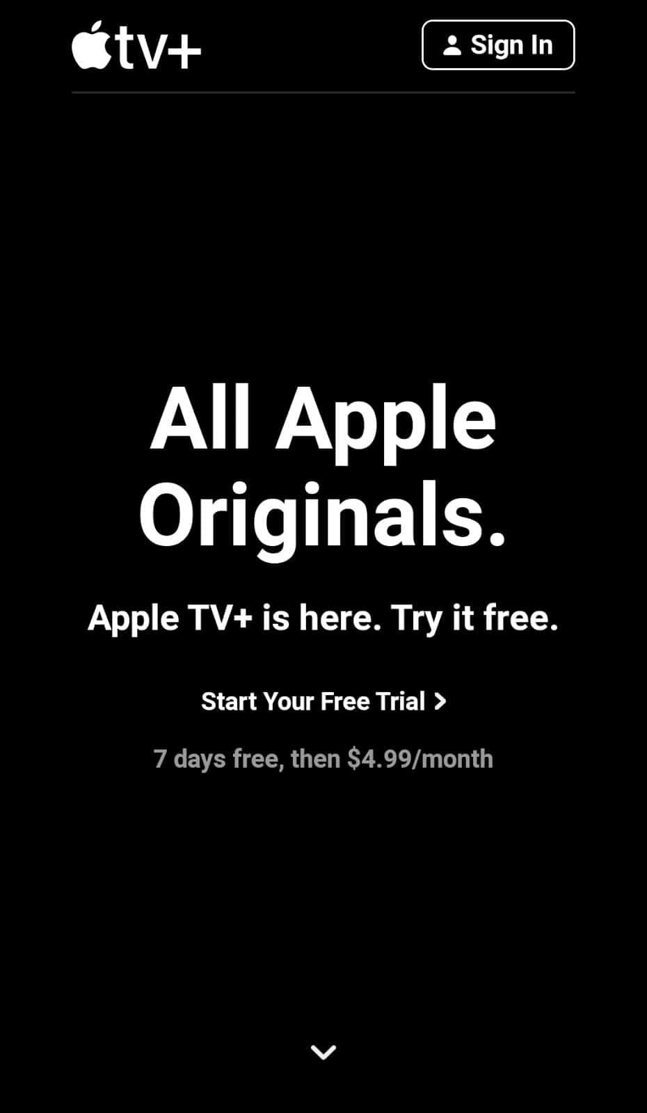 apple mobile landing page