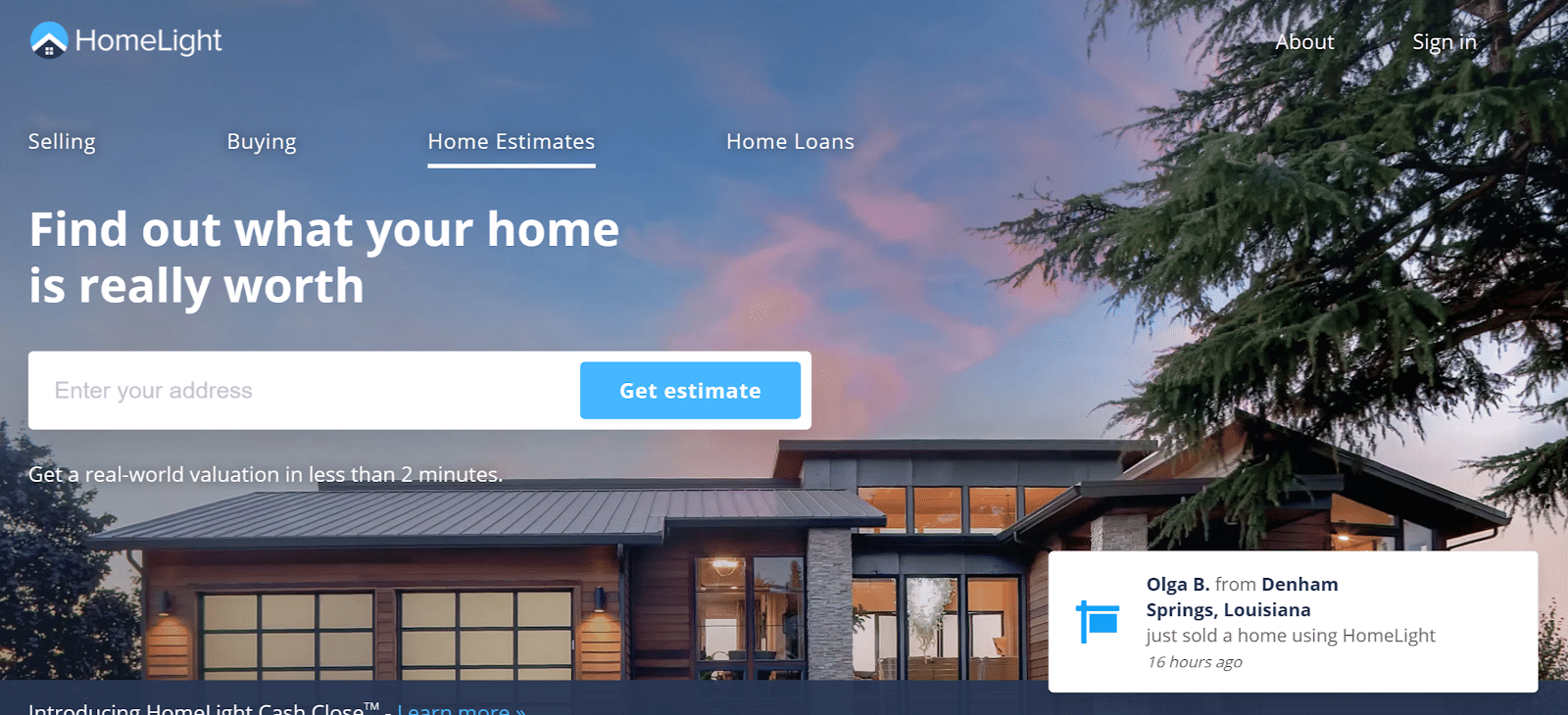 homelight real estate landing page