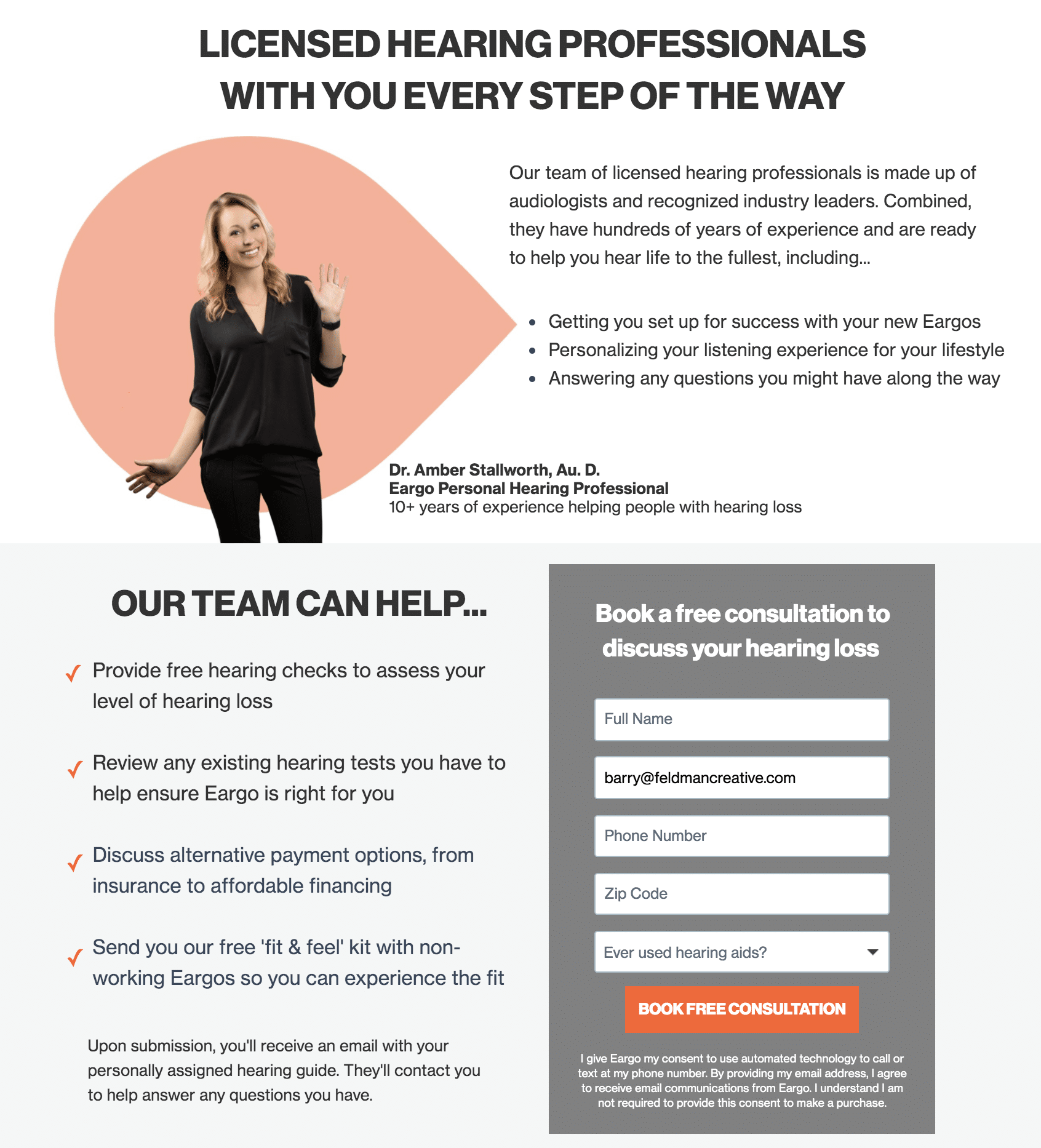Eargo free consultation call landing page
