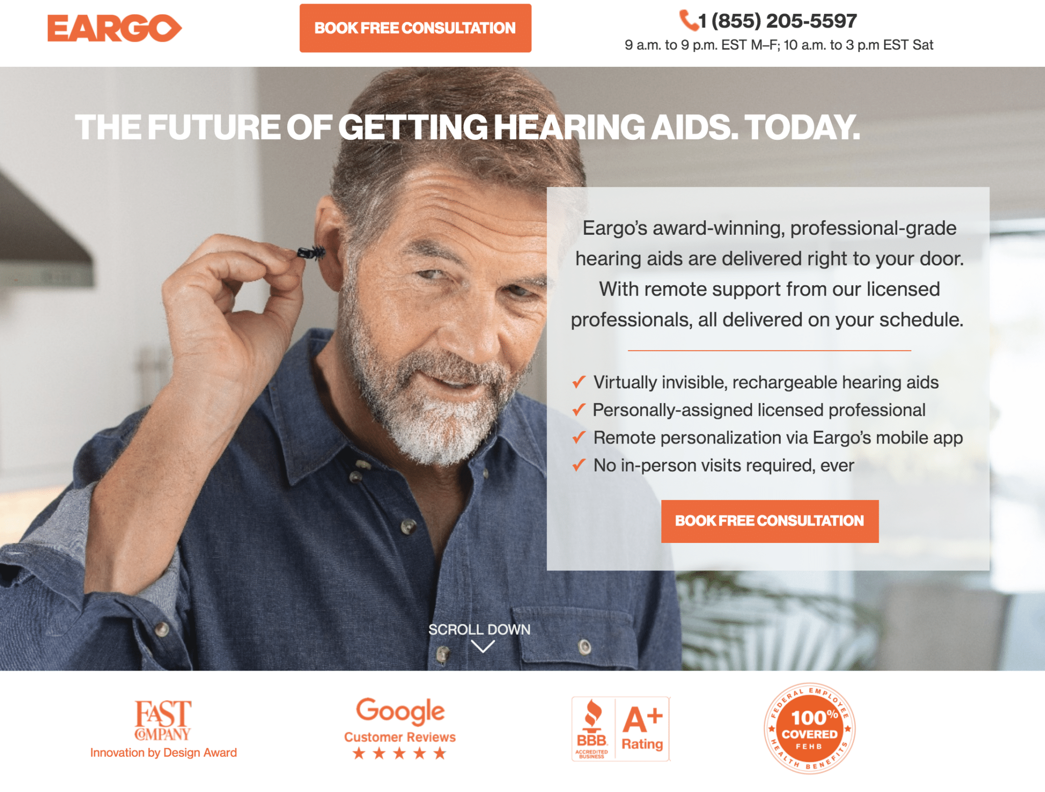 Eargo landing page