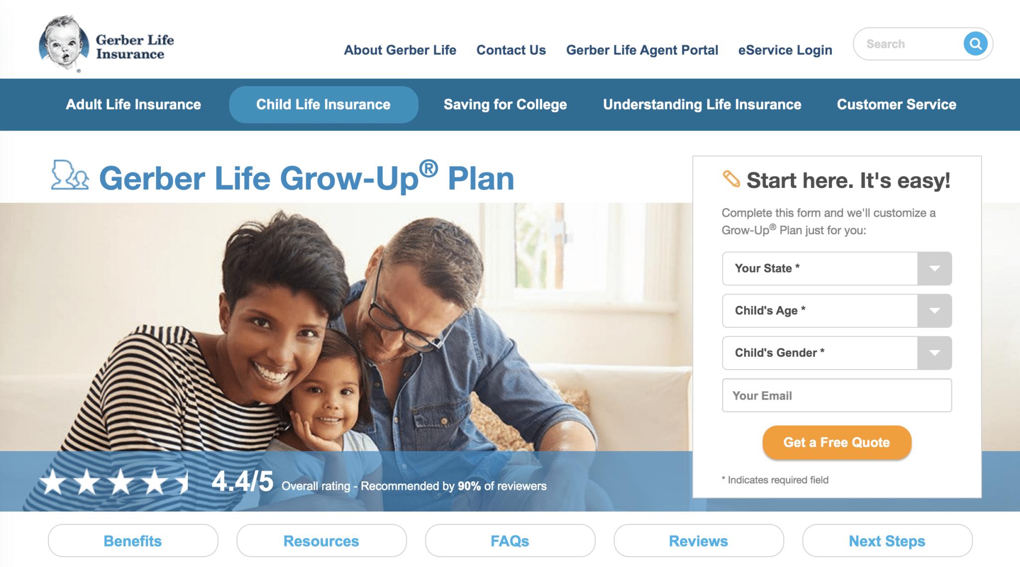Gerber Life Insurance landing page