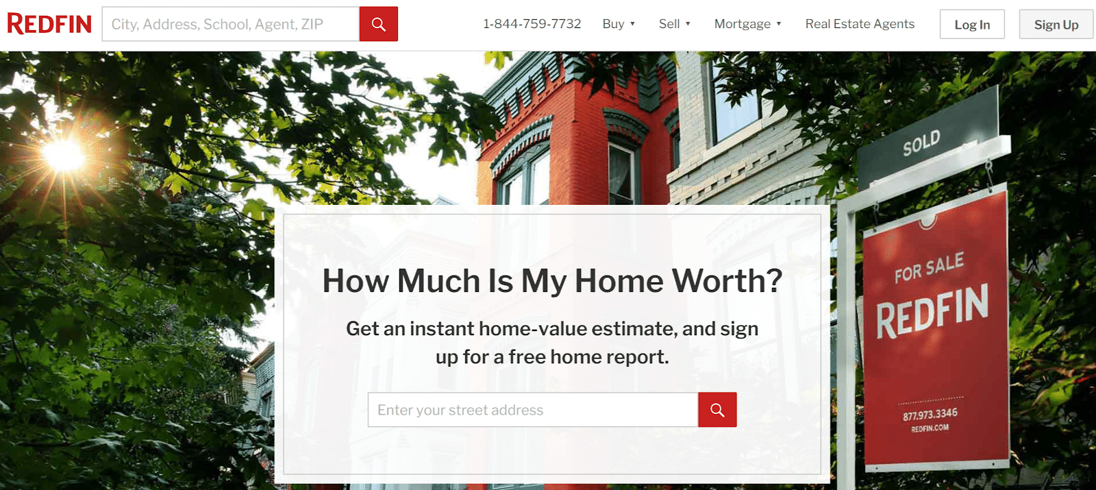 real estate landing page - redfin