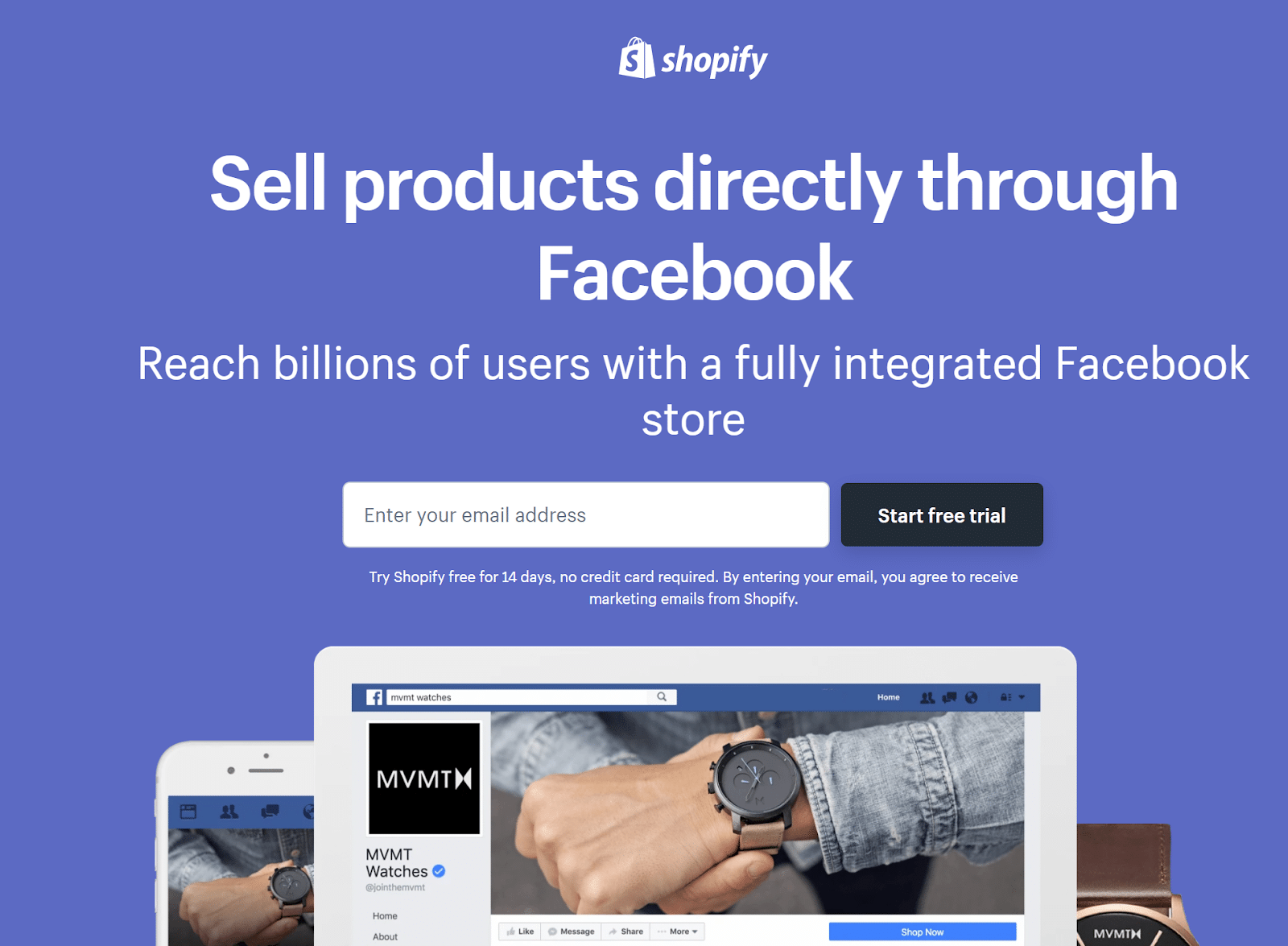 Landing page example from Shopify