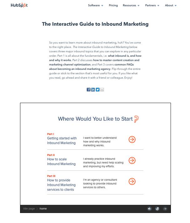 Hubspot interactive guide for inbound marketing