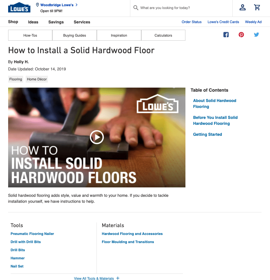 Lowe's on how to install a hard wood floor