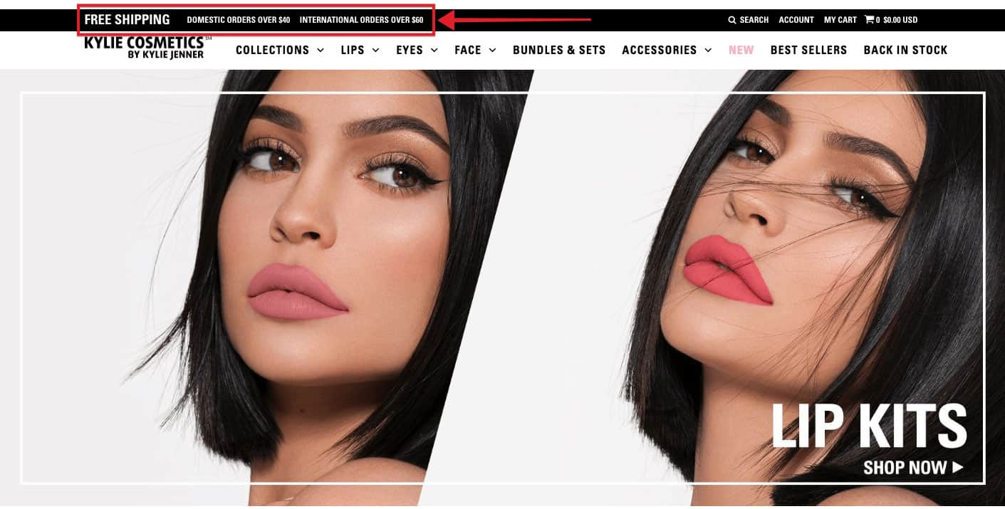 Kylie Cosmetics free shipping promotion