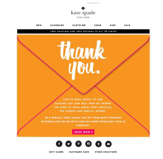 Kate Spade email marketing campaign