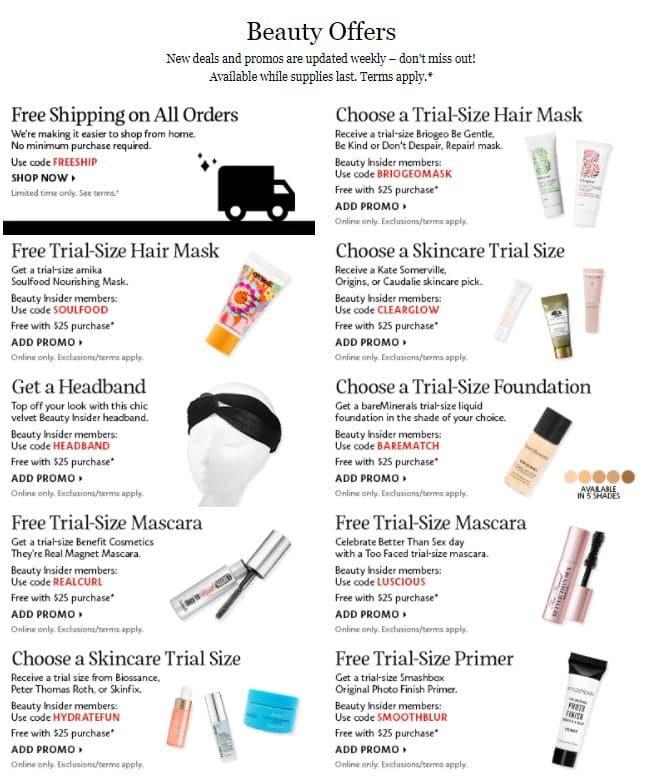 Sephora - Offer Free samples