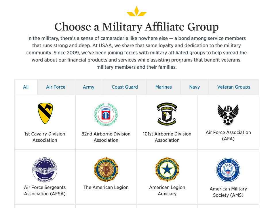 choose a military affiliate group example