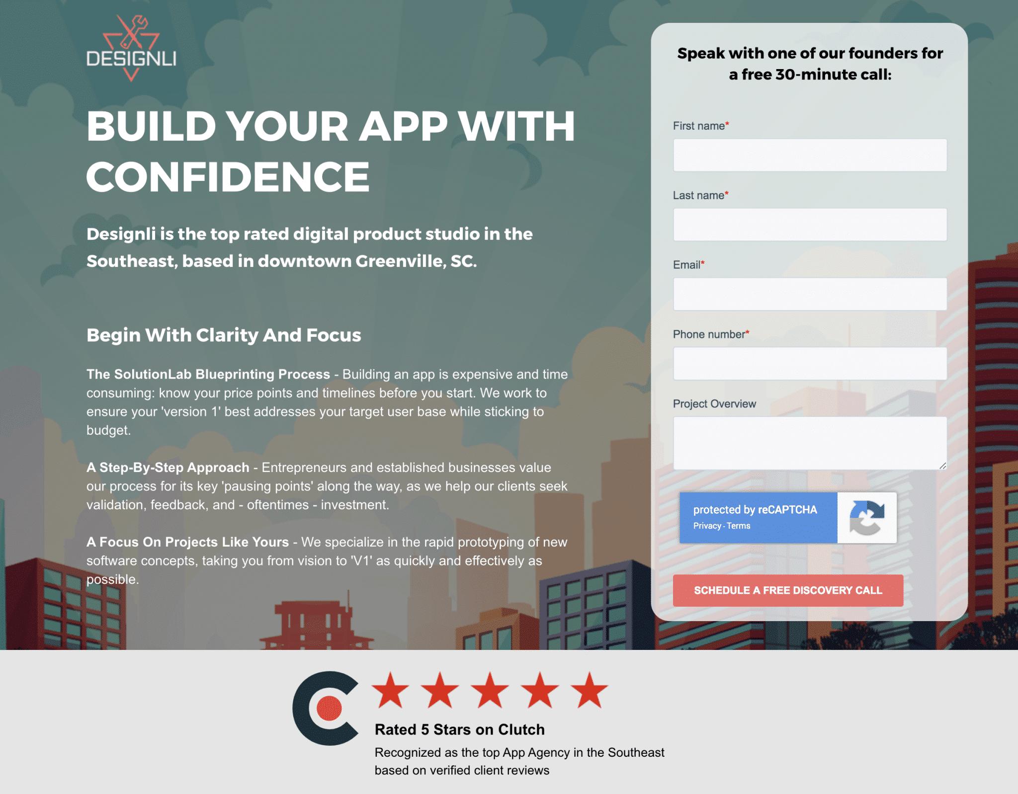 designil email capturing landing page